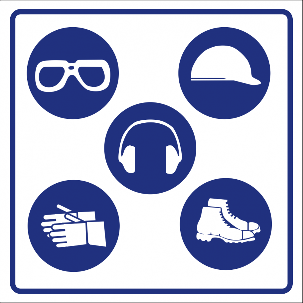 PPE - Combined Goggles, Hard Hat, Ear Protection, Gloves and safety shoes Safety Sign