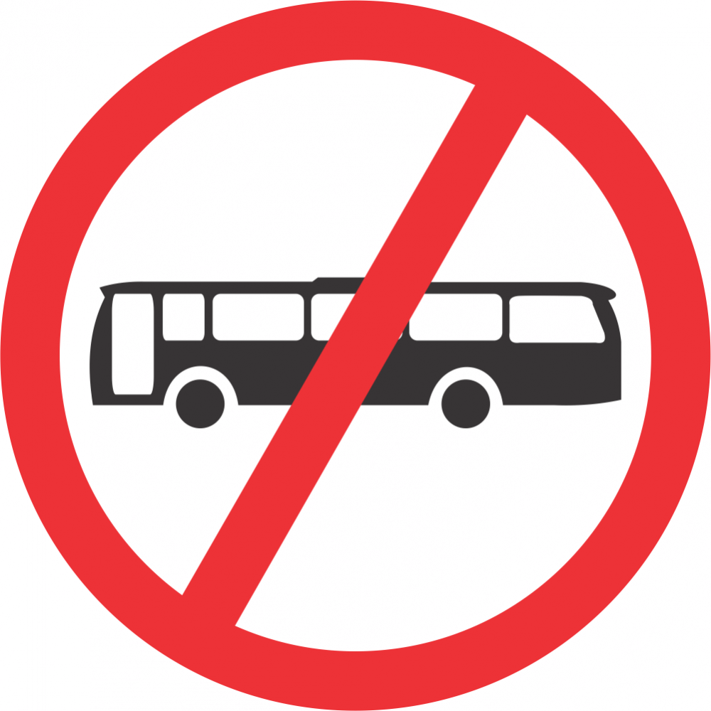 No Buses Safety Sign