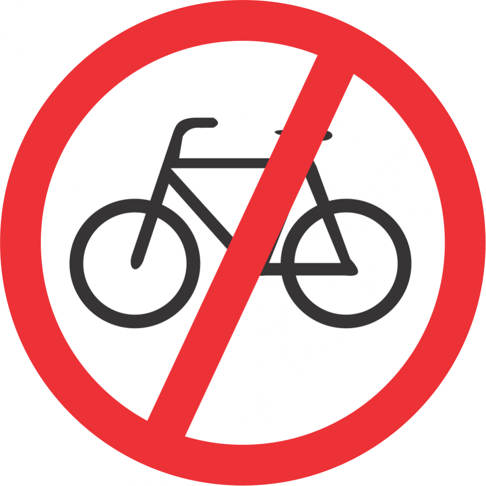 No Cyclists Safety Sign