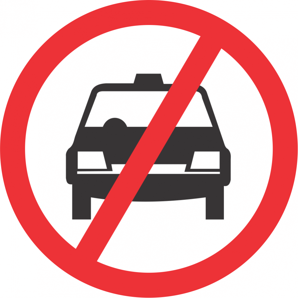 No Taxis Safety Sign