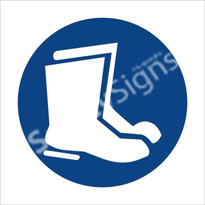 Foot and Leg Protection Against Liquids Shall Be Worn Safety Sign