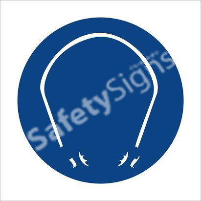 Hearing Protection Shall Be Worn - Two Safety Sign