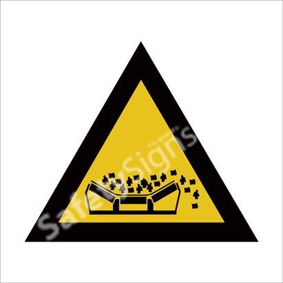 Beware of Material Falling From Moving Conveyer Belts